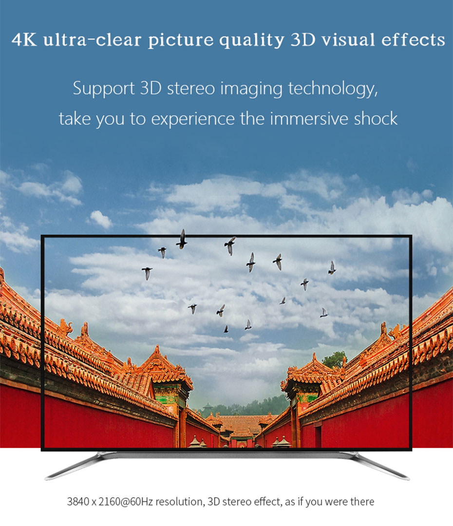 HDMI optical cable supports 4K*2K@60Hz HD resolution