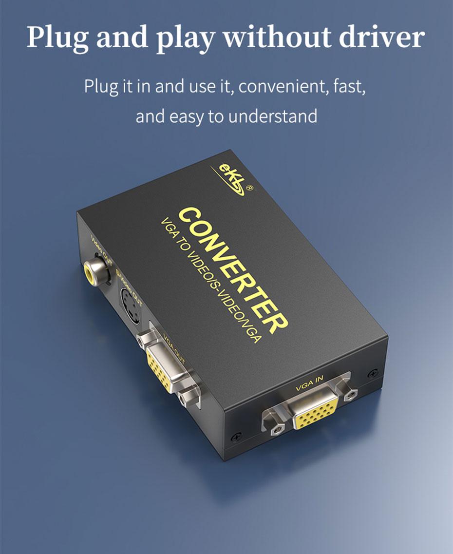 VGA to AV/S terminal/BNC converter 1801 plug and play, no driver required
