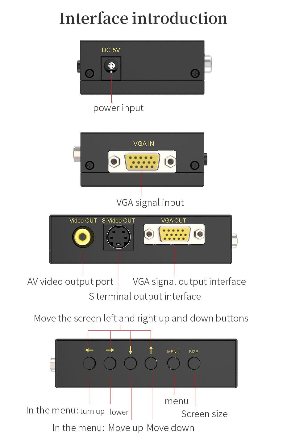 VGA to AV/S terminal converter 1801 interface introduction