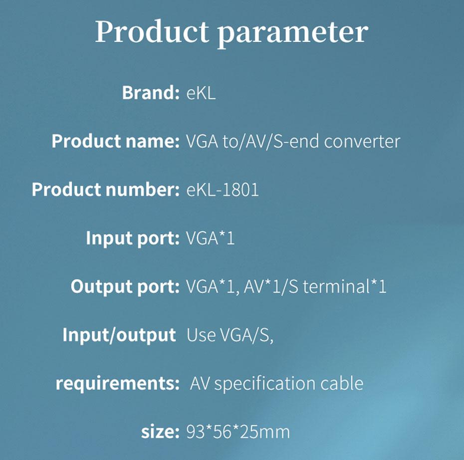 VGA to AV/S terminal converter 1801 specifications