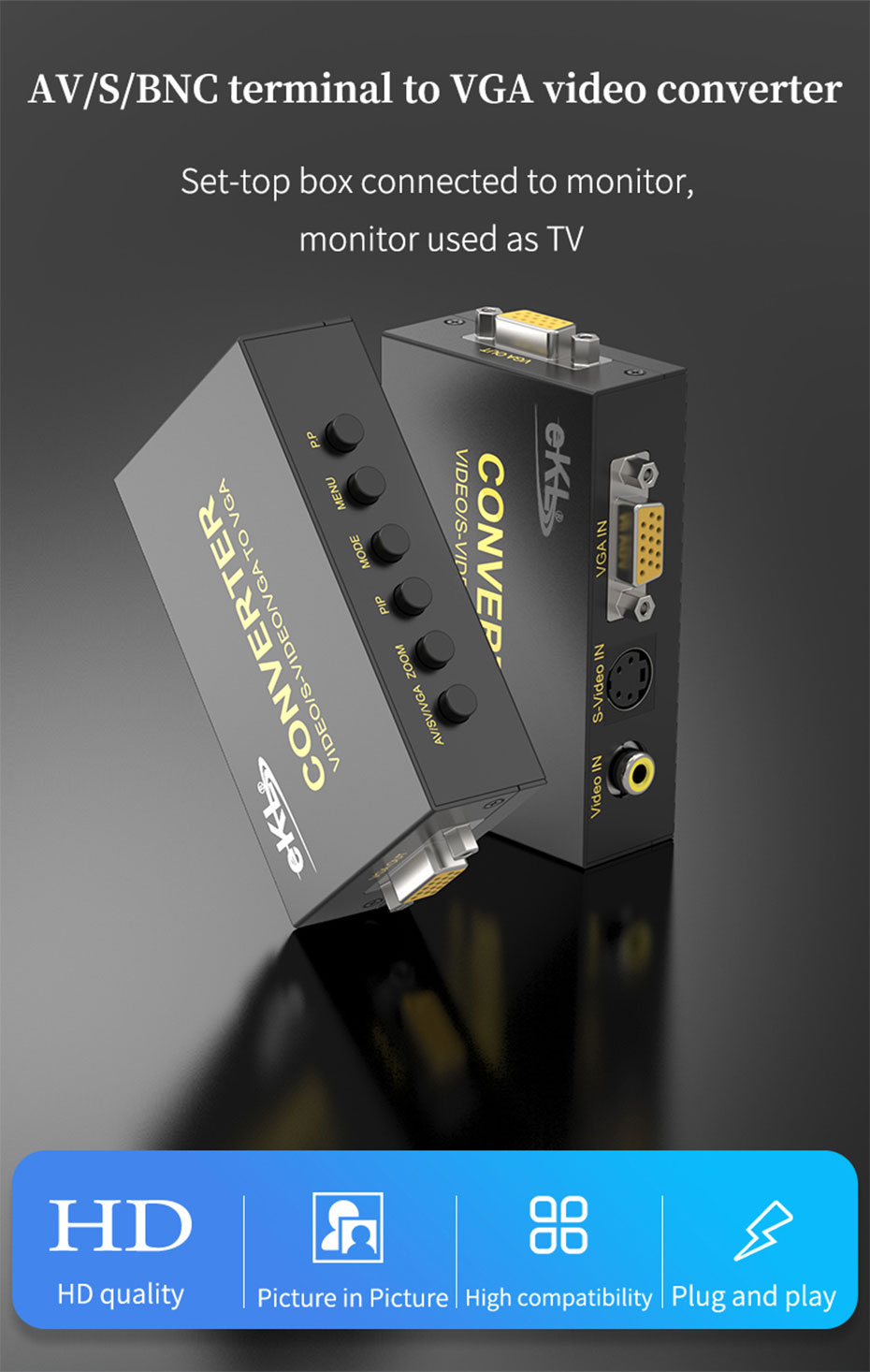 AV/BNC/S-Video to VGA converter 1802