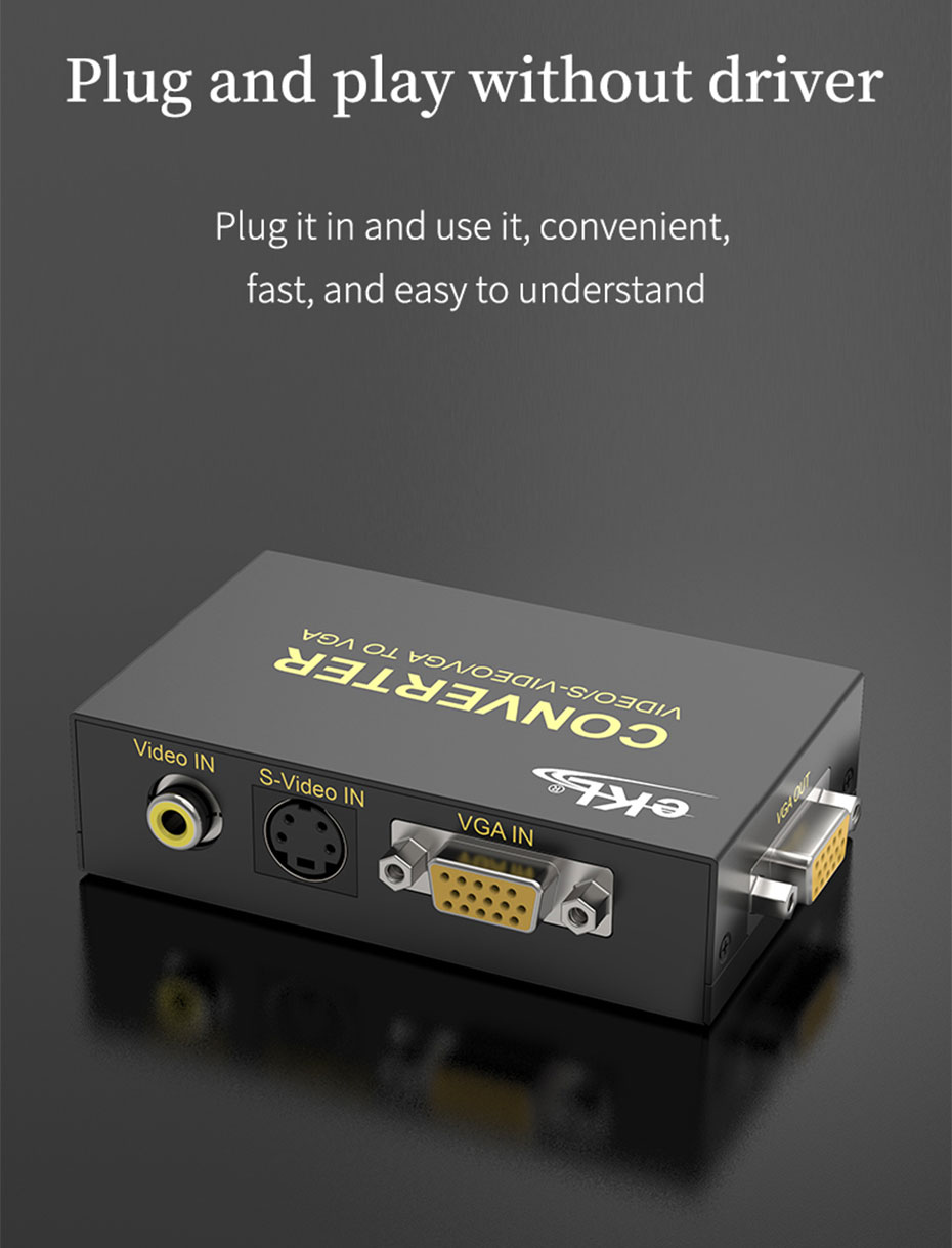 AV/BNC/S-Video to VGA converter 1802 requires no driver, plug and play