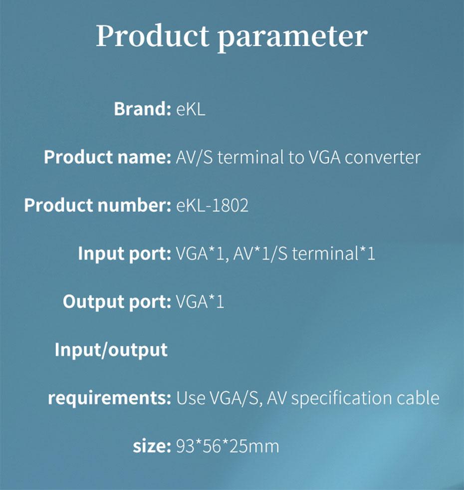 AV/BNC/S-Video to VGA converter 1802 specifications