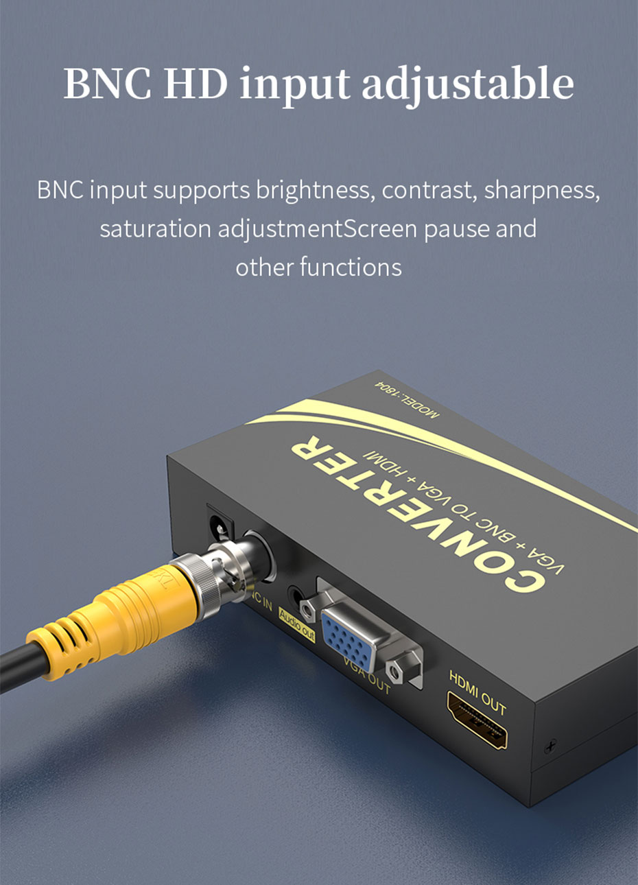 BNC to HDMI converter 1804 BNC input supports brightness, contrast, sharpness, saturation adjustment and other functions