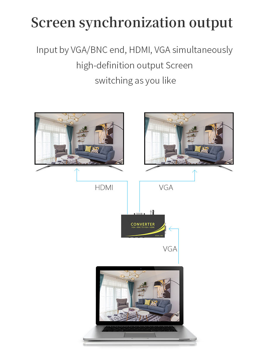 VGA/BNC to HDMI converter 1804 supports screen synchronous output