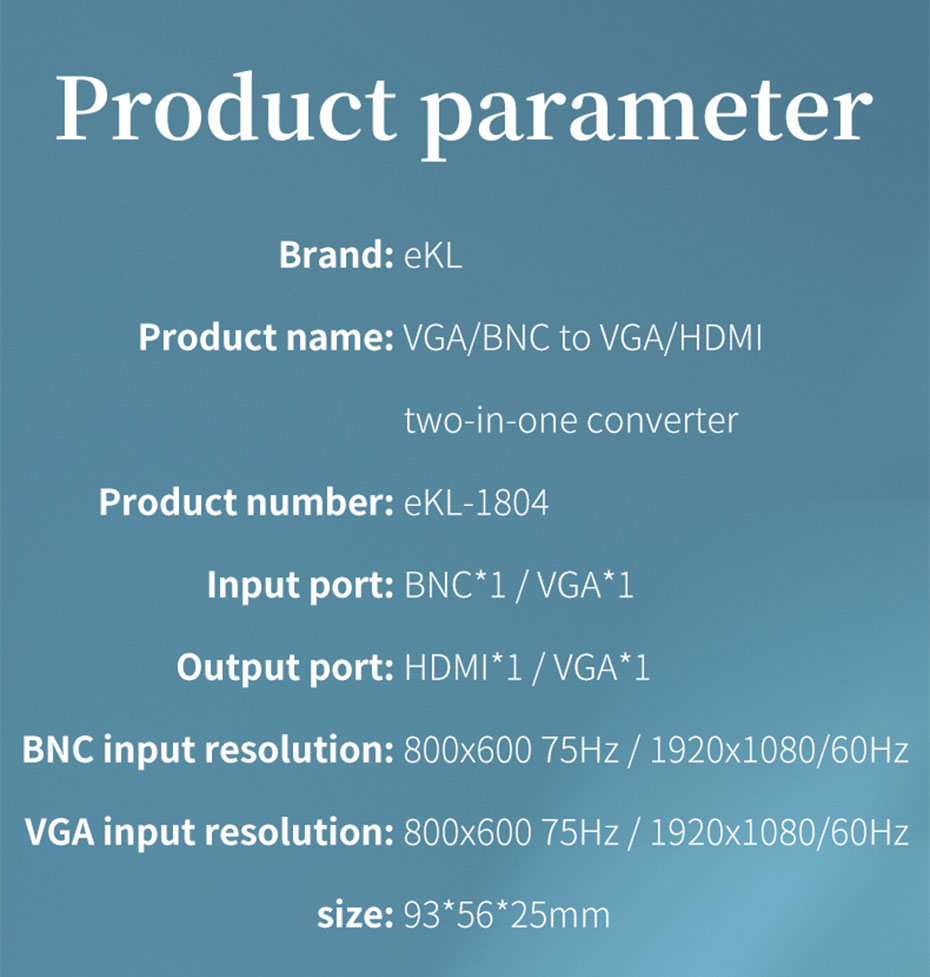 VGA/BNC to HDMI converter 1804 specifications