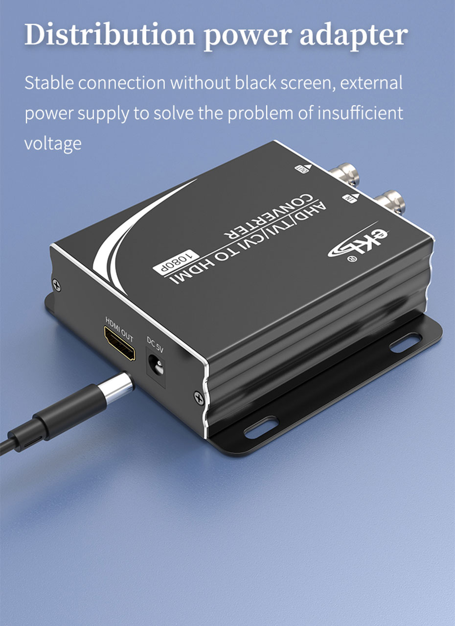 AHD/TVI/CVI to HDMI converter uses independent power supply