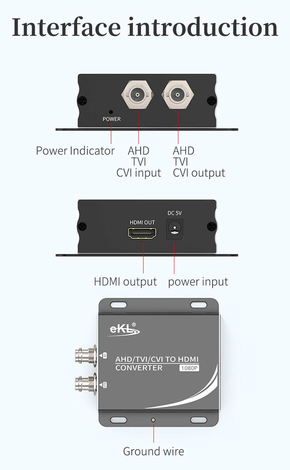 AHD/TVI/CVI to HDMI converter AHD supports signal amplification