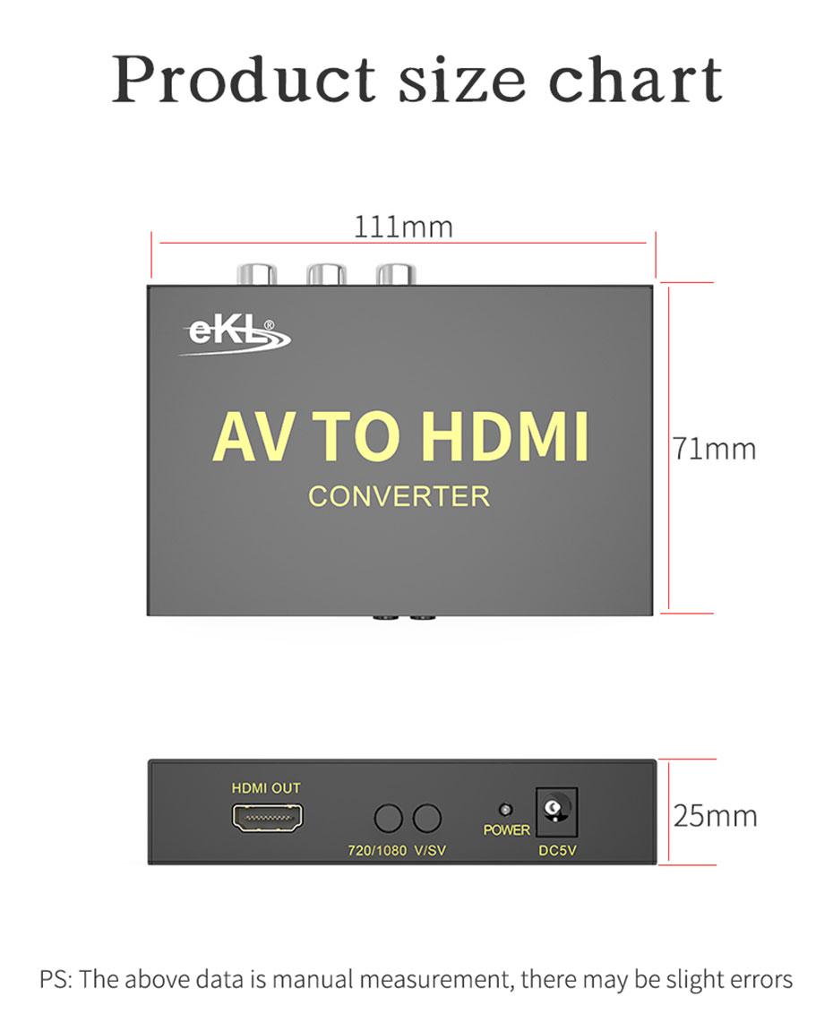S-Video/AV to HDMI converter AVH length: 111mm; width: 71mm; height: 25mm