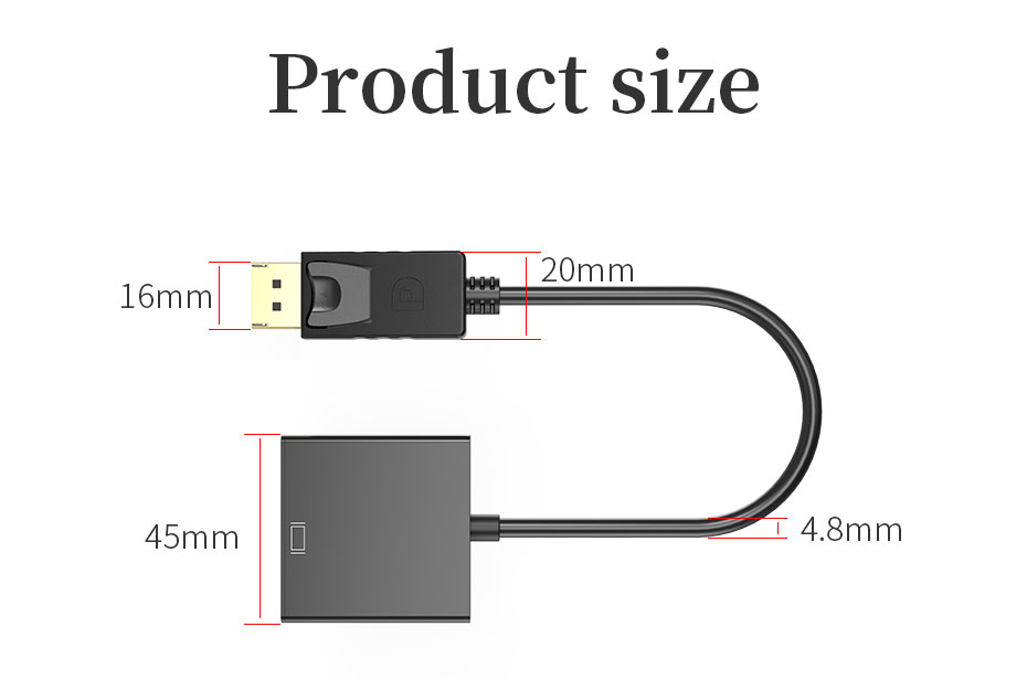 DP to HDMI converter DH size