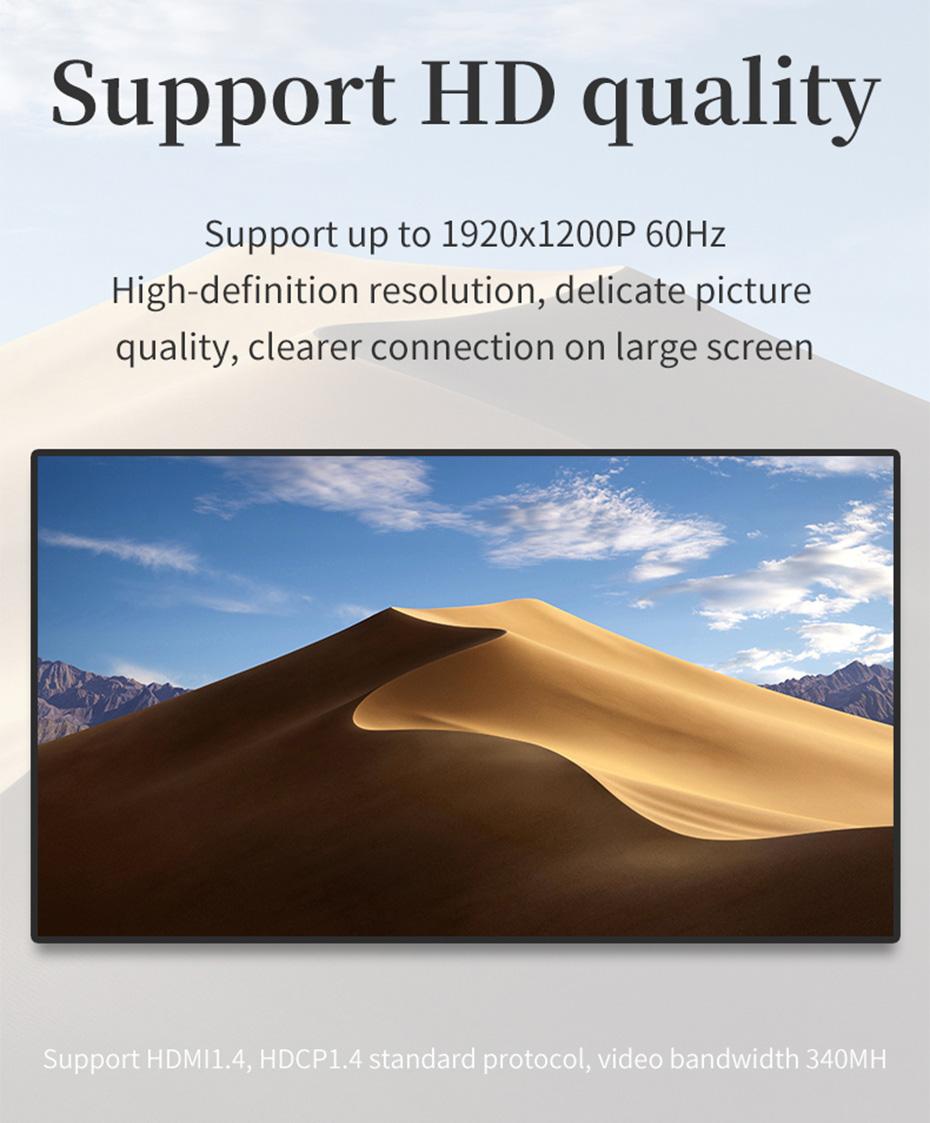 DVI to HDMI converter DHA supports 4096*2160@24Hz, 3840*2160@30Hz resolution