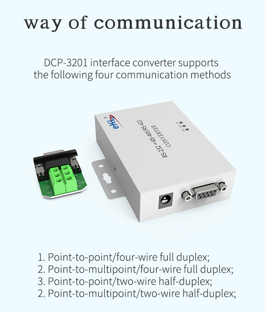 RS232 to RS485/RS422 two-way communication protocol converter H104 supports four communication modes in the picture