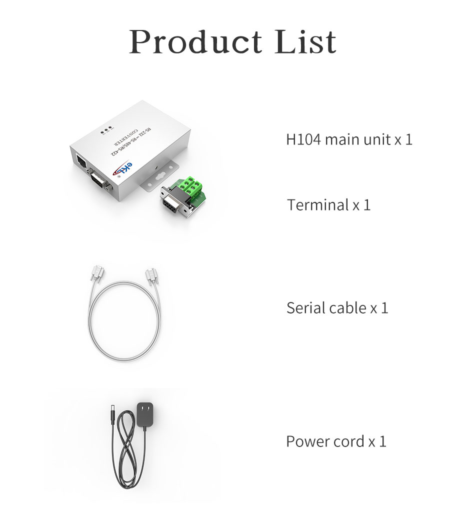 RS232 to RS485/RS422 bidirectional communication protocol converter H104 standard accessories