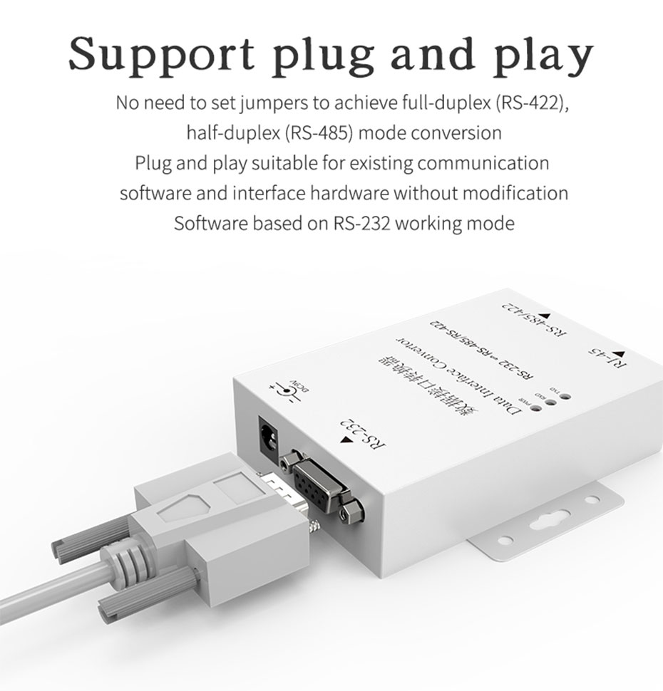 Two-way mutual conversion RS232 to RS485/RS422 converter H105 supports plug and play