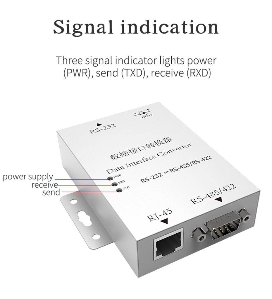 Two-way mutual conversion RS232 to RS485/RS422 converter H105 adopts three signal indicators, the working status of the machine is clear at a glance