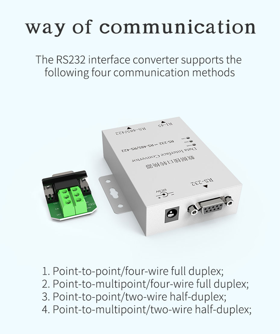 Two-way mutual conversion RS232 to RS485/RS422 converter H105 supports four communication modes in the picture