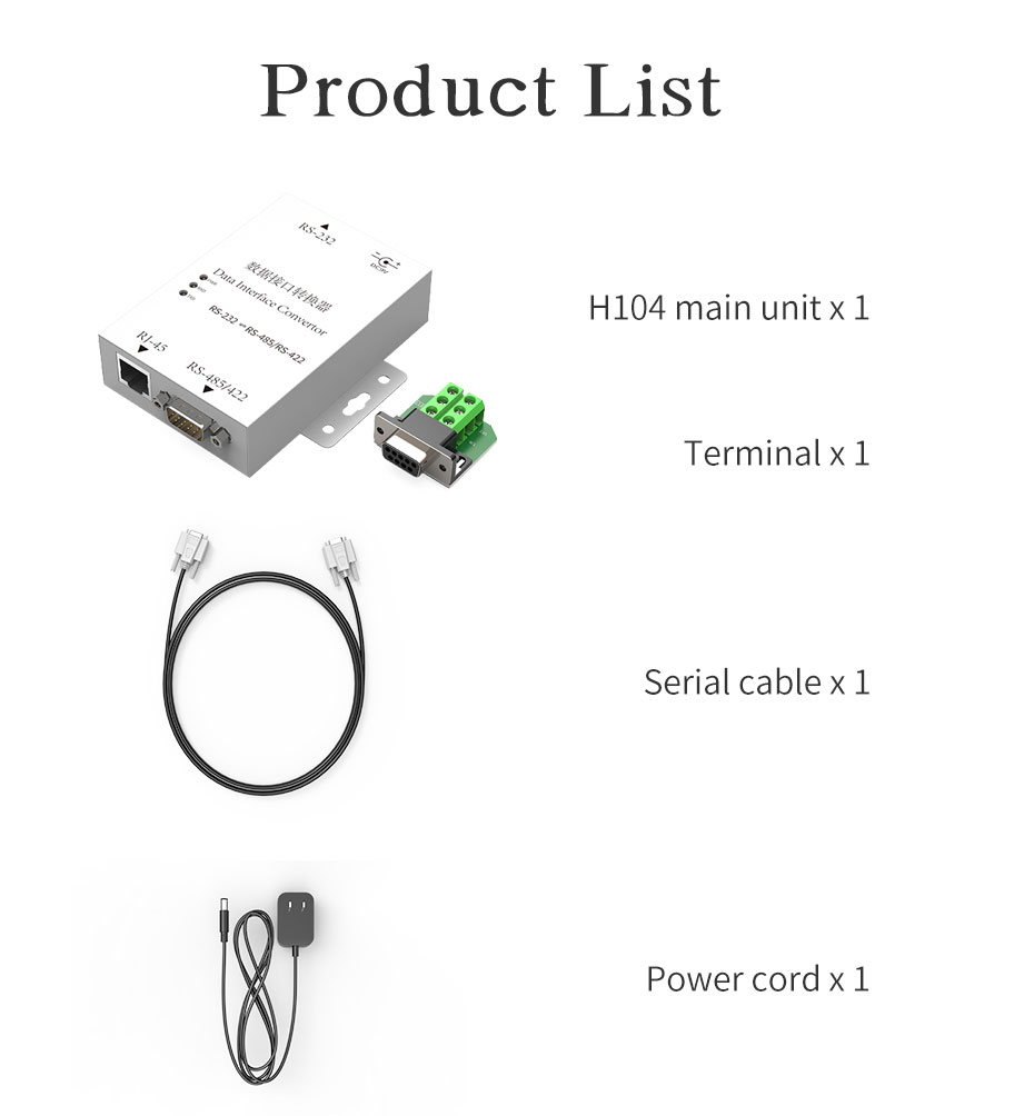 Two-way mutual conversion RS232 to RS485/RS422 converter H105 standard accessories