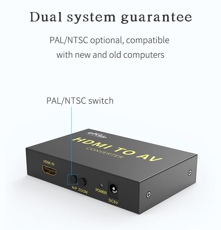 HDMI to AV converter HAV supports PAL/NTSC dual system