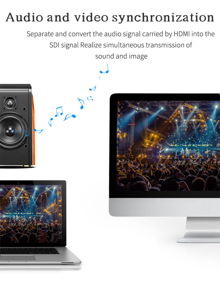 HDMI to SDI HD converter HSD-1 supports simultaneous transmission of audio and video
