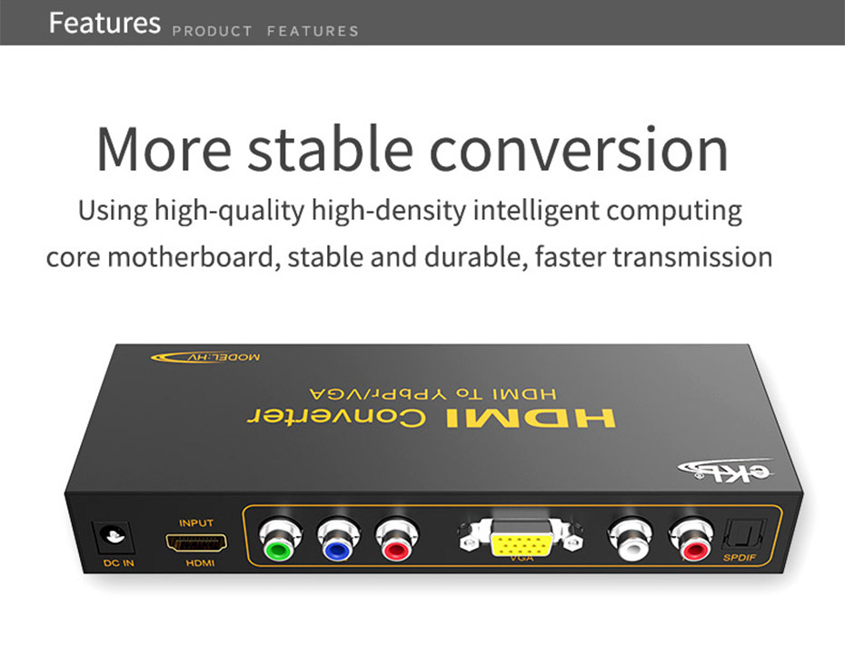 HDMI to VGA/YPbPr converter HV supports two conversions