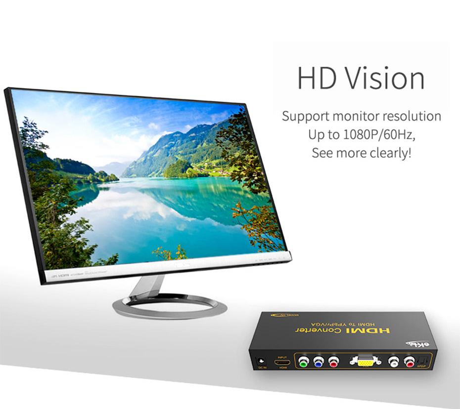 HDMI to VGA/YPbPr converter HV supports 1080p@60Hz
