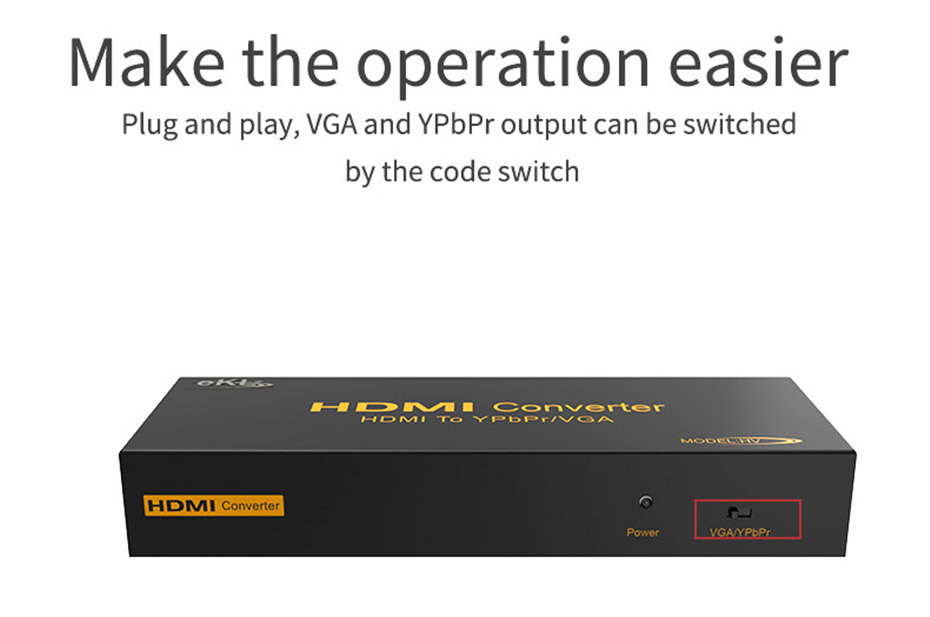 HDMI to VGA/YPbPr converter HV supports one-key switching conversion mode