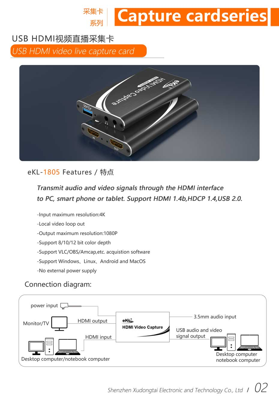 2021 Xudongtai ekL Electronic Product Manual-Introduction to Capture Card