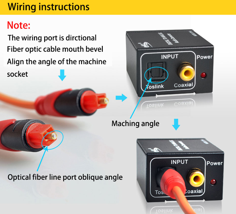 SPDIF digital optical coaxial audio converter DAA optical input wiring instructions