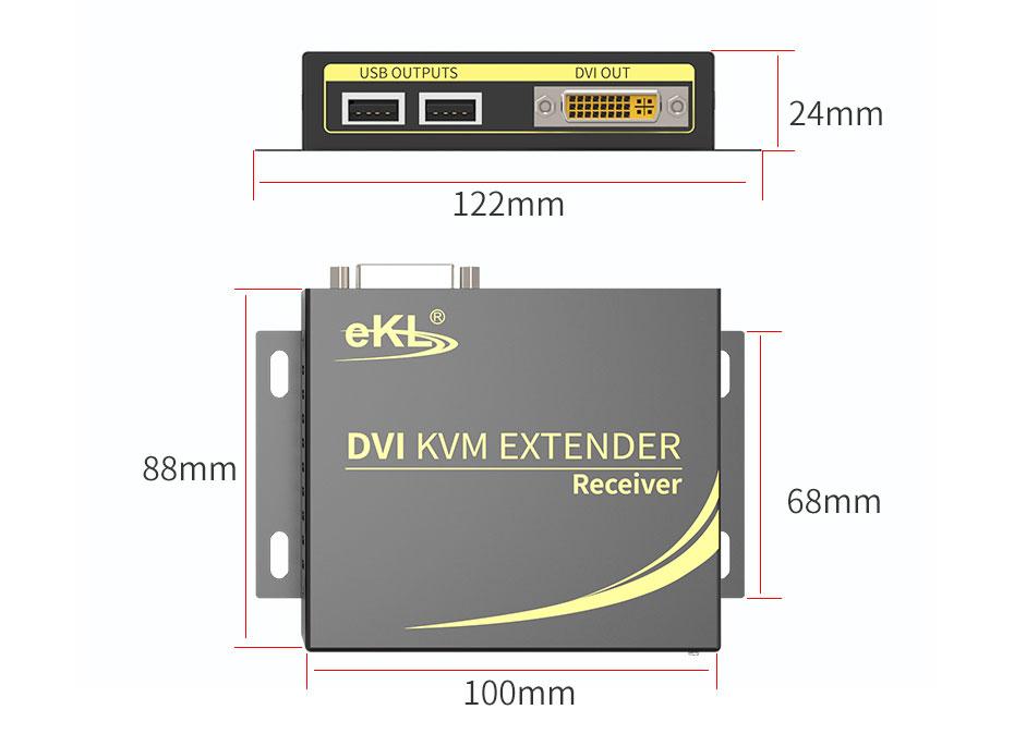 100m DVI KVM single network cable extender DCK100 receiver length 122mm; width 88mm; height 24mm