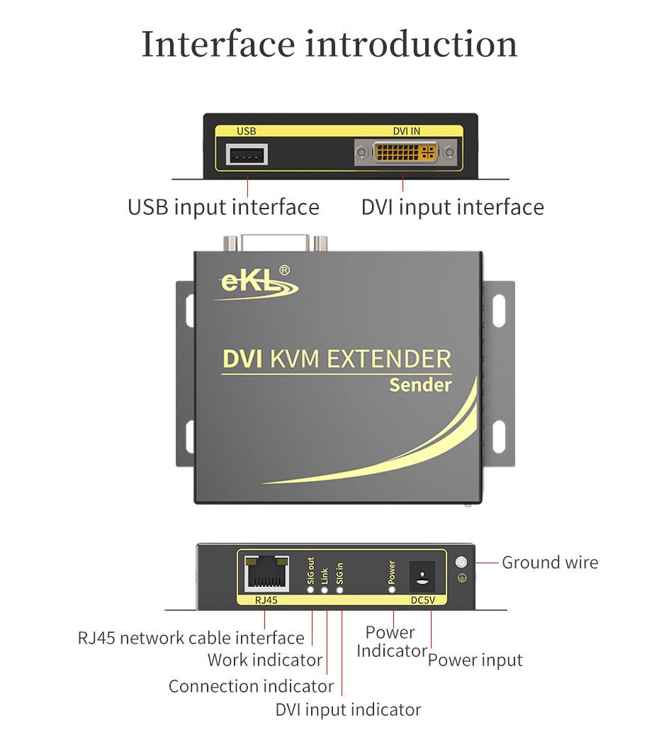100m DVI KVM single network cable extender DCK100 transmitter interface introduction