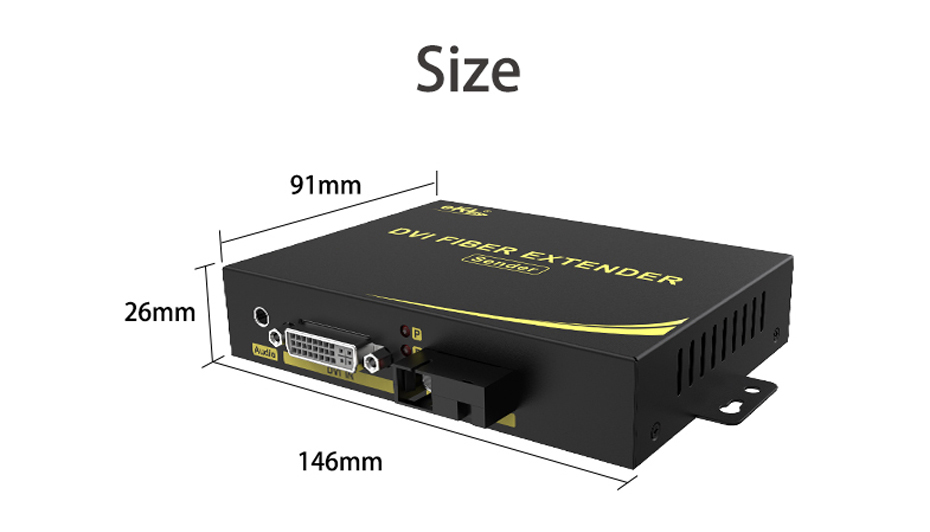 DVI optical transceiver DF200 length 146mm; width 91mm; height 26mm and other scenes
