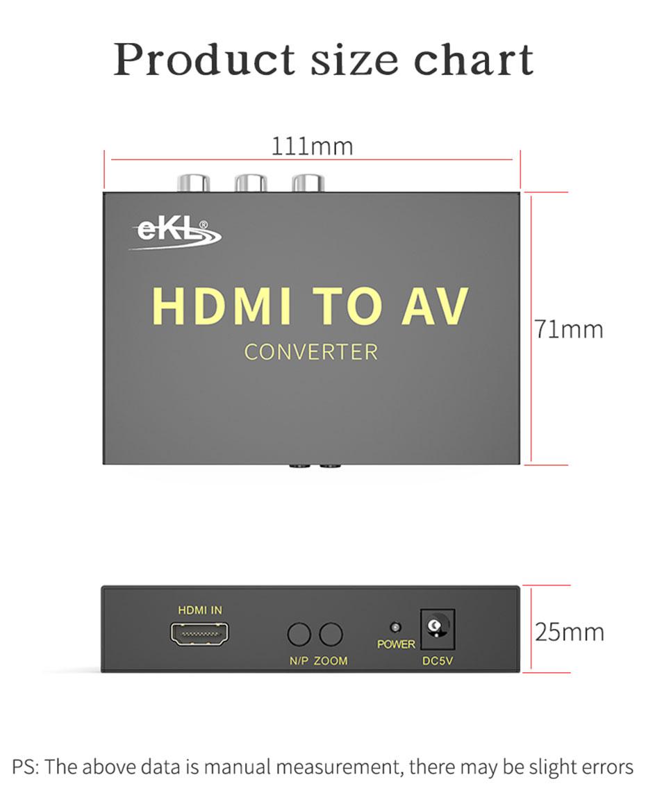 HDMI to S-Video/AV converter HAV length 111mm; width 71mm; height 25mm