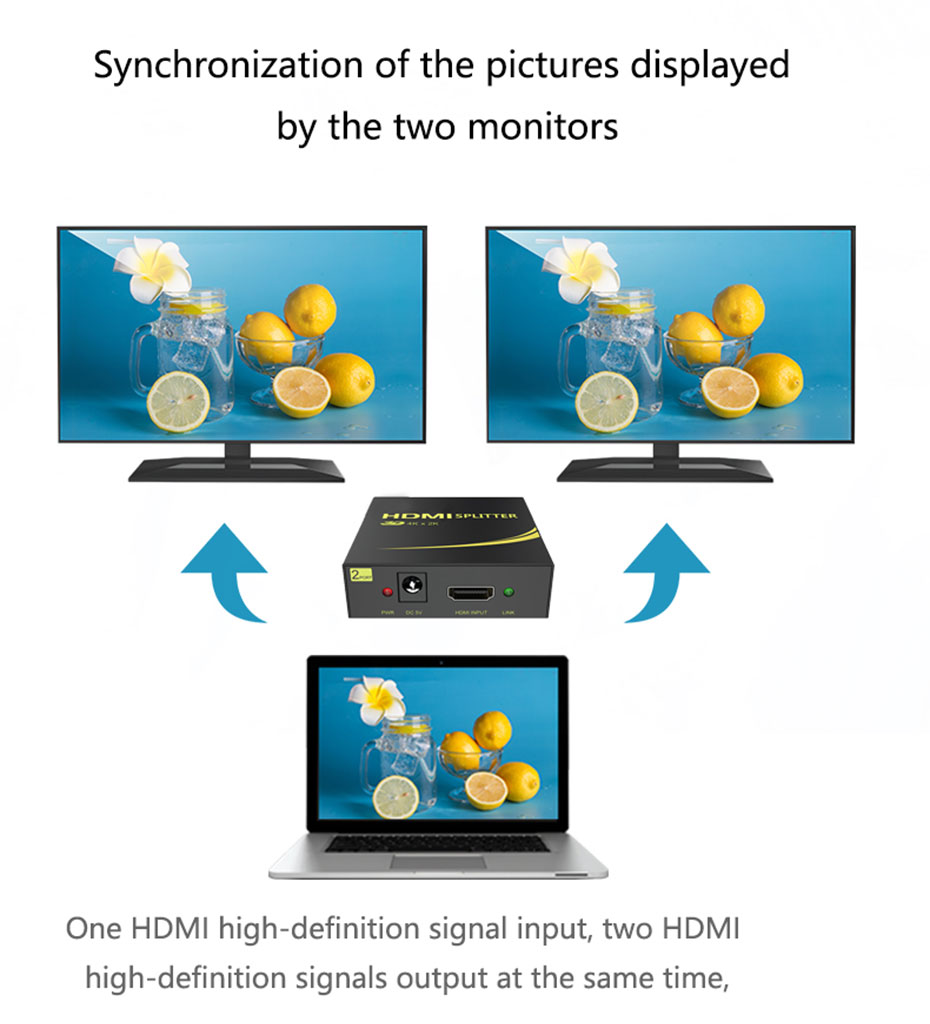 HDMI splitter 1 in 2 out HD102 connection use schematic