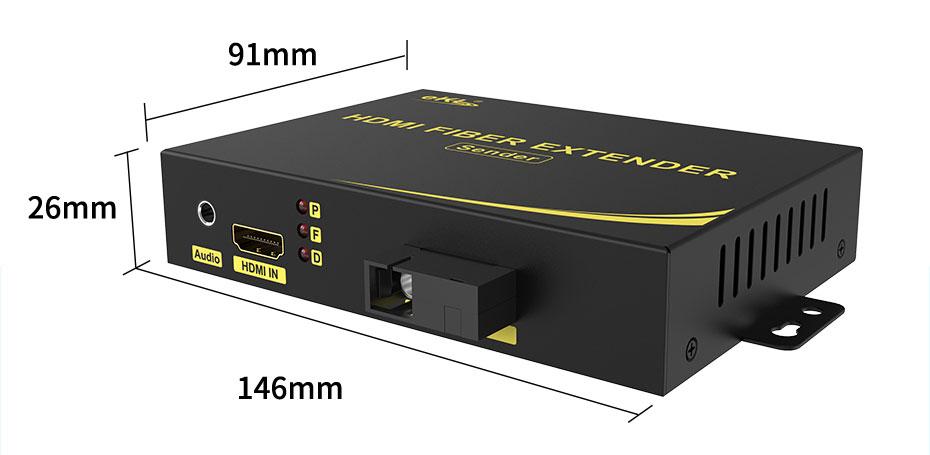 HDMI fiber extender length: 146mm; width: 91mm; height: 26mm
