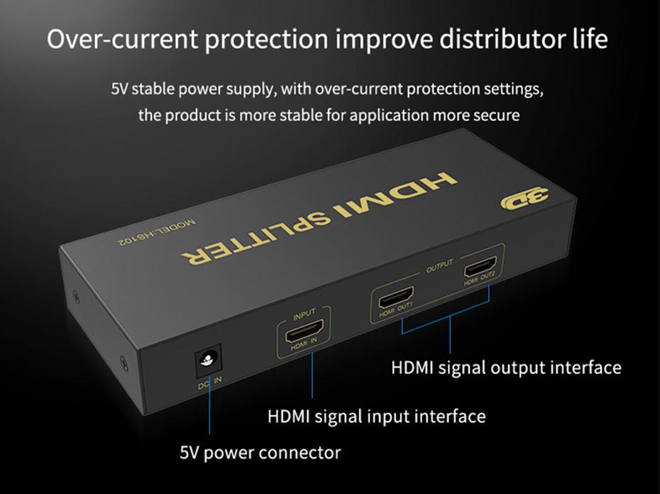 HDMI splitter 1 in 2 out HS102 interface description