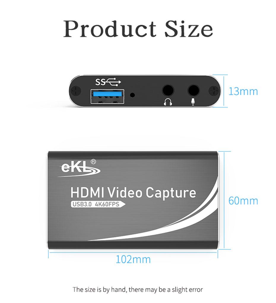 USB3.0 HDMI video capture card HUC03 length: 102mm; width: 60mm; height: 13mm