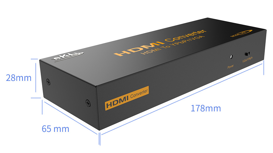 HDMI to VGA/YPbPr converter HV length 178mm; width 65mm; height 28mm