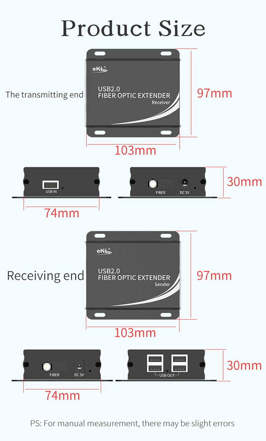 USB fiber optic extender UF01 size