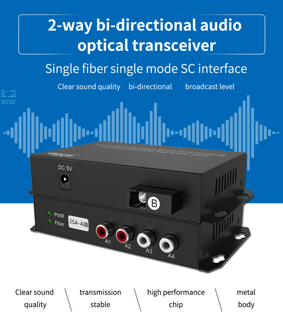 2-way bi-directional audio optical transceiver2SA