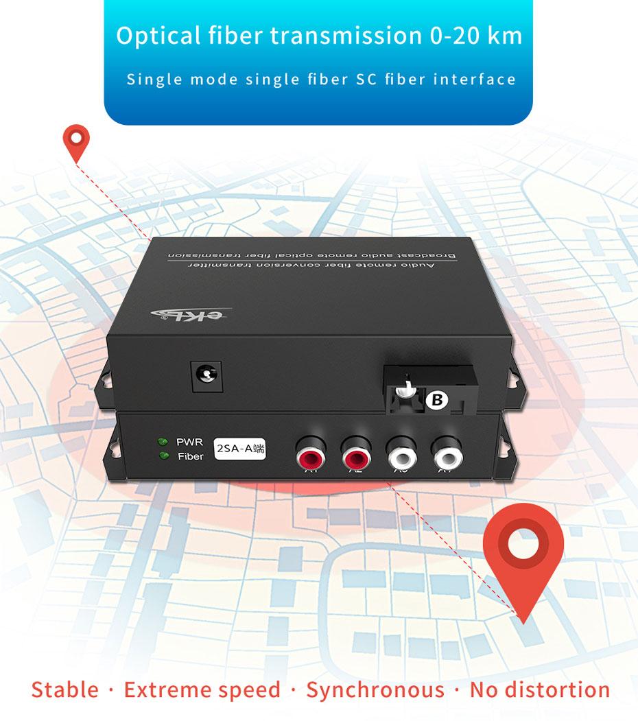 Audio Optical Transceiver 2SA uses single-fiber single-mode fiber for transmission up to 20 km