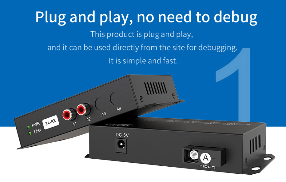 2-way unidirectional audio optical extender 2za supports plug and play