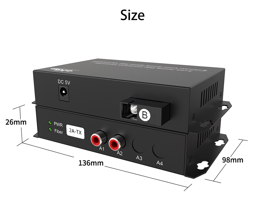 2-way unidirectional audio fiber extender 2za 136mm long, 98mm wide and 26mm high