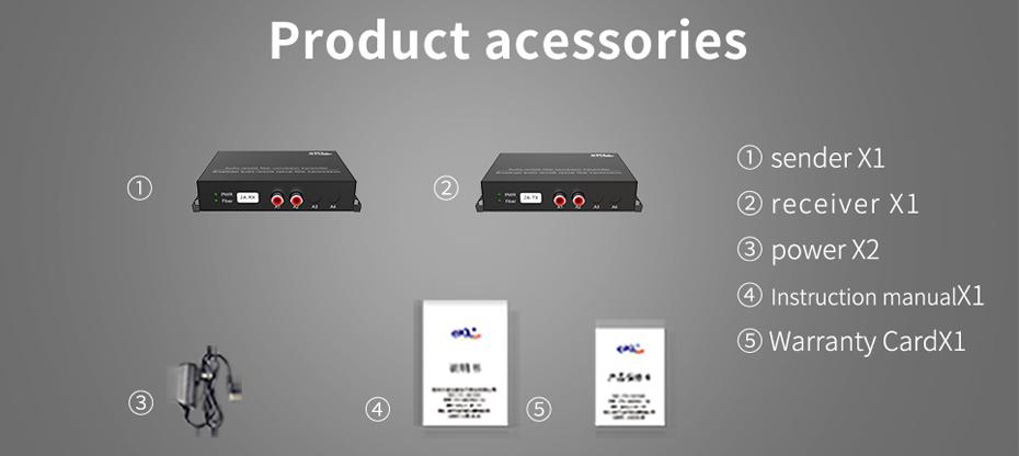 2-way unidirectional audio optical fiber extender 2za standard accessories