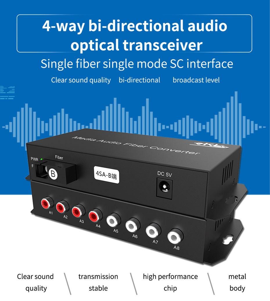 4-way bi-directional audio  optical transceiver