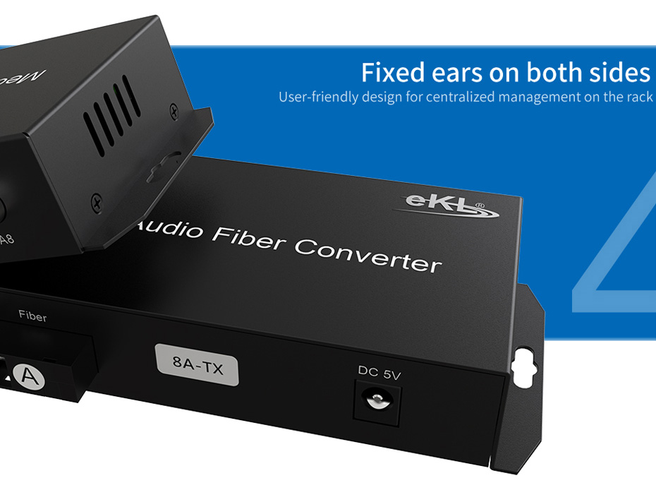 8-way one-way broadcast audio optical transceiver 8ZA fixed ear design on both sides for centralized management