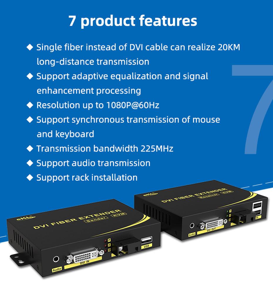 7 features of 20km DVI KVM fiber optic extender DFKU200