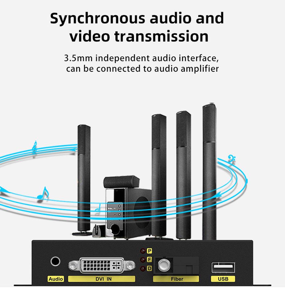 20km DVI KVM fiber optic extender DFKU200 audio and video synchronous transmission