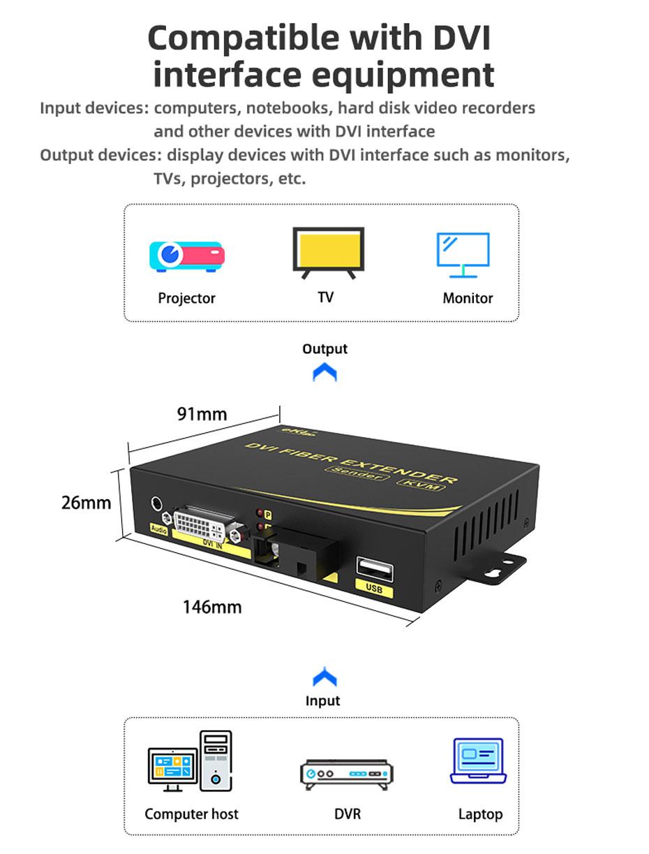 20 km DVI KVM fiber optic extender DFKU200 compatible with DVI interface equipment