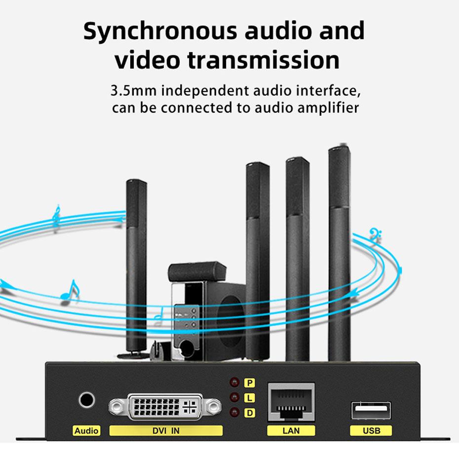 DVI KVM cat6 extender DU200 Audio and video synchronous transmission