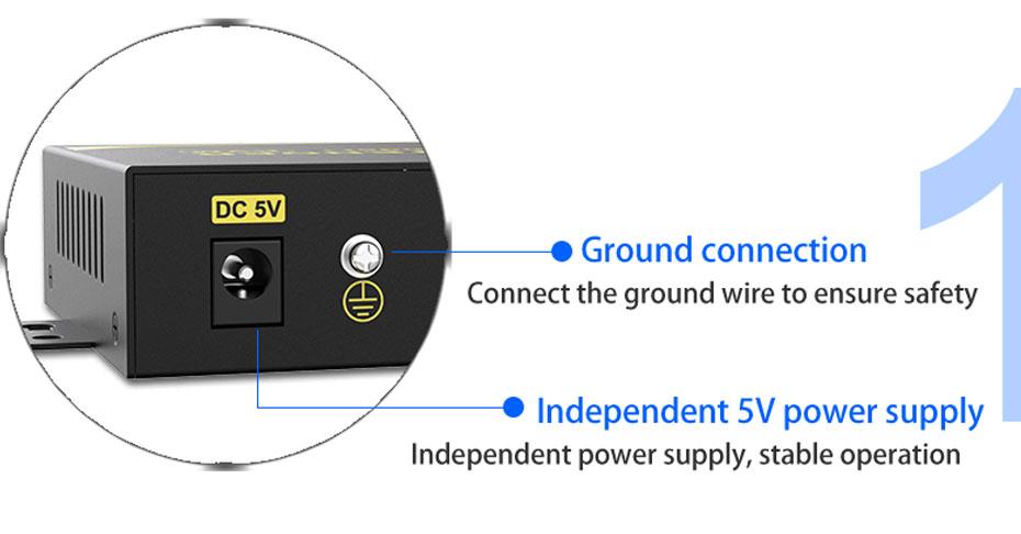 DVI KVM cat6 extender DU200 adopts independent power supply and ground wire design